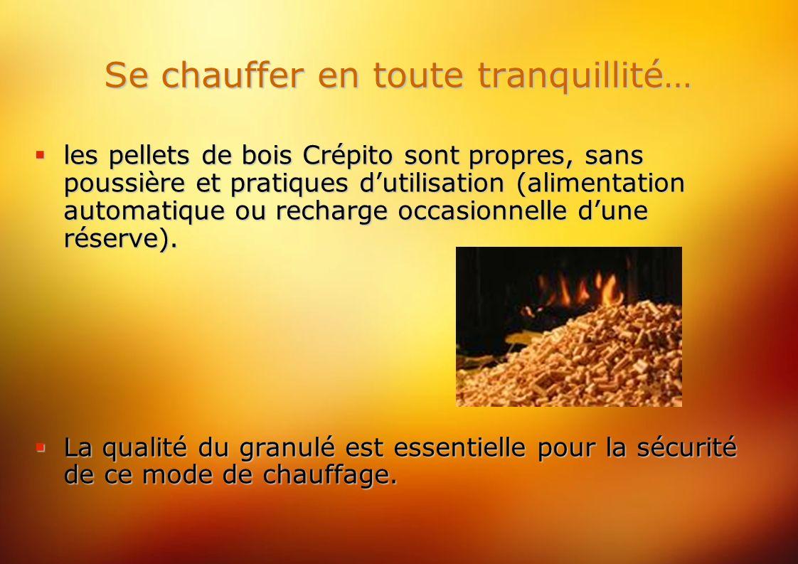 Se chauffer en toute tranquillité… les pellets de bois Crépito sont propres, sans poussière et pratiques dutilisation (alimentation automatique ou recharge occasionnelle dune réserve).