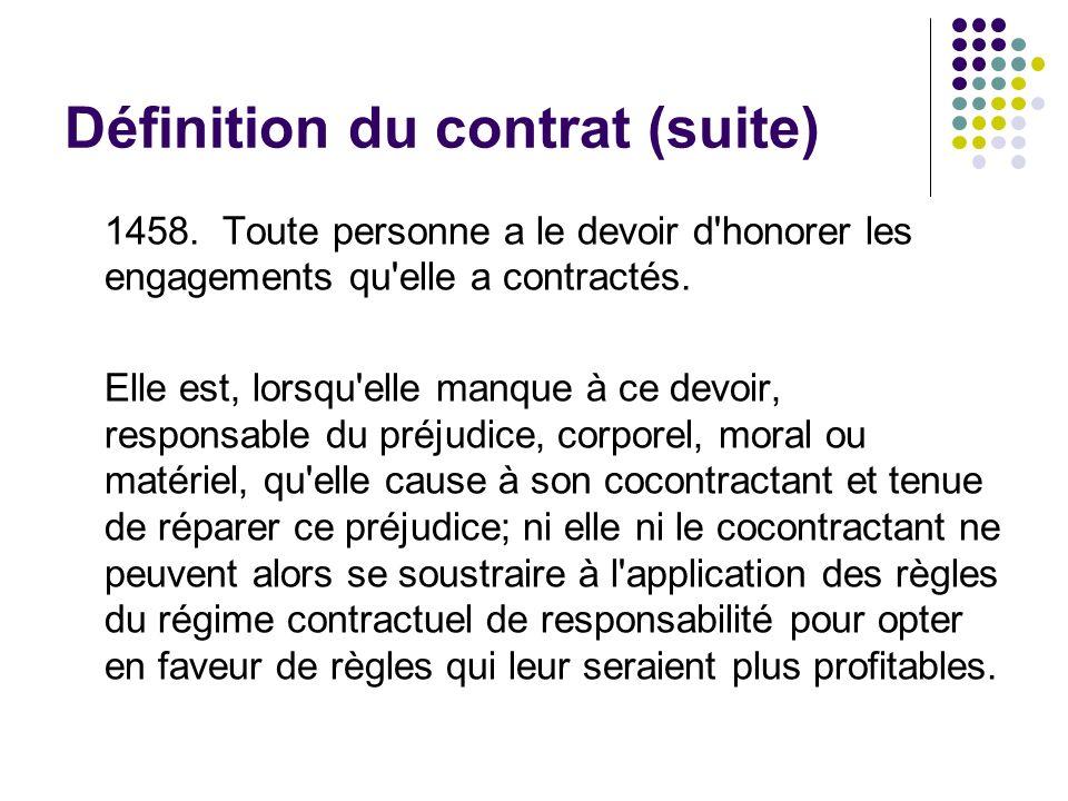 Définition du contrat (suite) 1458. Toute personne a le devoir d'honorer les engagements qu'elle a contractés. Elle est, lorsqu'elle manque à ce devoi