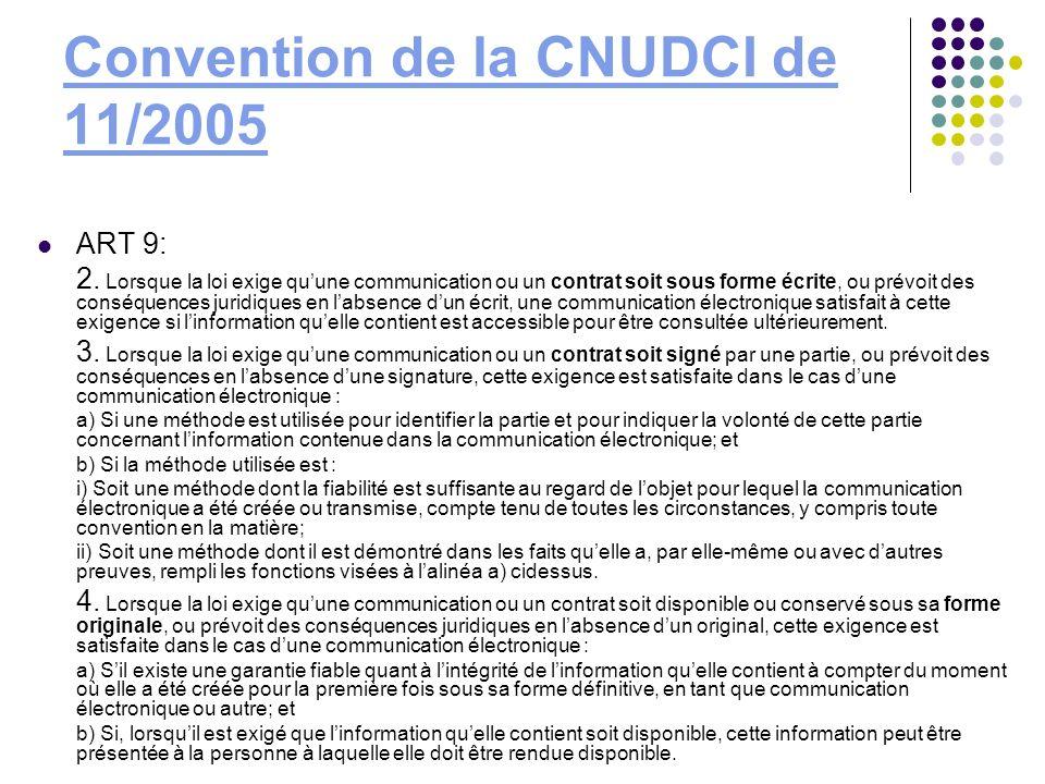 Convention de la CNUDCI de 11/2005 ART 9: 2. Lorsque la loi exige quune communication ou un contrat soit sous forme écrite, ou prévoit des conséquence