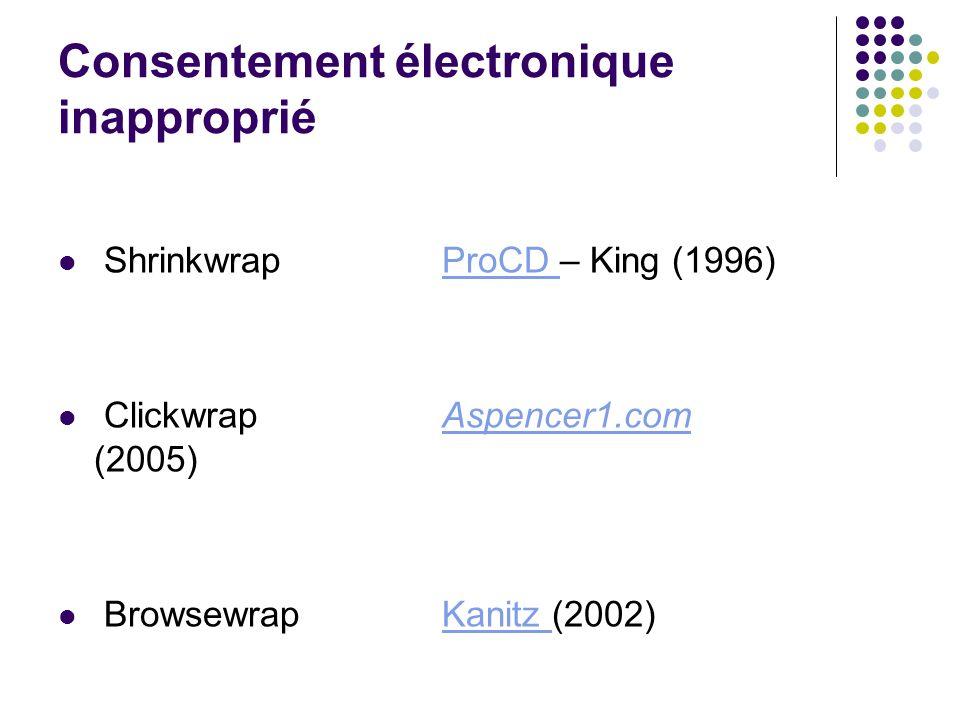 Consentement électronique inapproprié Shrinkwrap ProCD – King (1996)ProCD Clickwrap Aspencer1.com (2005)Aspencer1.com Browsewrap Kanitz (2002)Kanitz