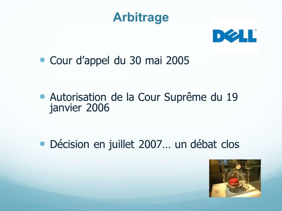 Arbitrage Cour dappel du 30 mai 2005 Autorisation de la Cour Suprême du 19 janvier 2006 Décision en juillet 2007… un débat clos