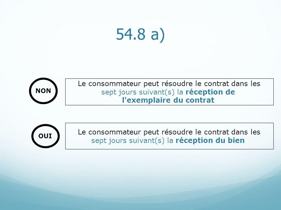 54.8 a) Le consommateur peut résoudre le contrat dans les sept jours suivant(s) la réception du bien Le consommateur peut résoudre le contrat dans les
