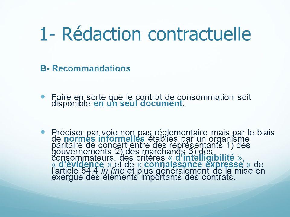 1- Rédaction contractuelle B- Recommandations Faire en sorte que le contrat de consommation soit disponible en un seul document. Préciser par voie non