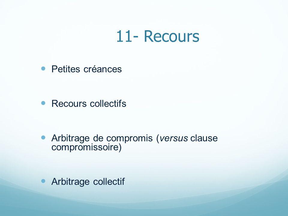 11- Recours Petites créances Recours collectifs Arbitrage de compromis (versus clause compromissoire) Arbitrage collectif