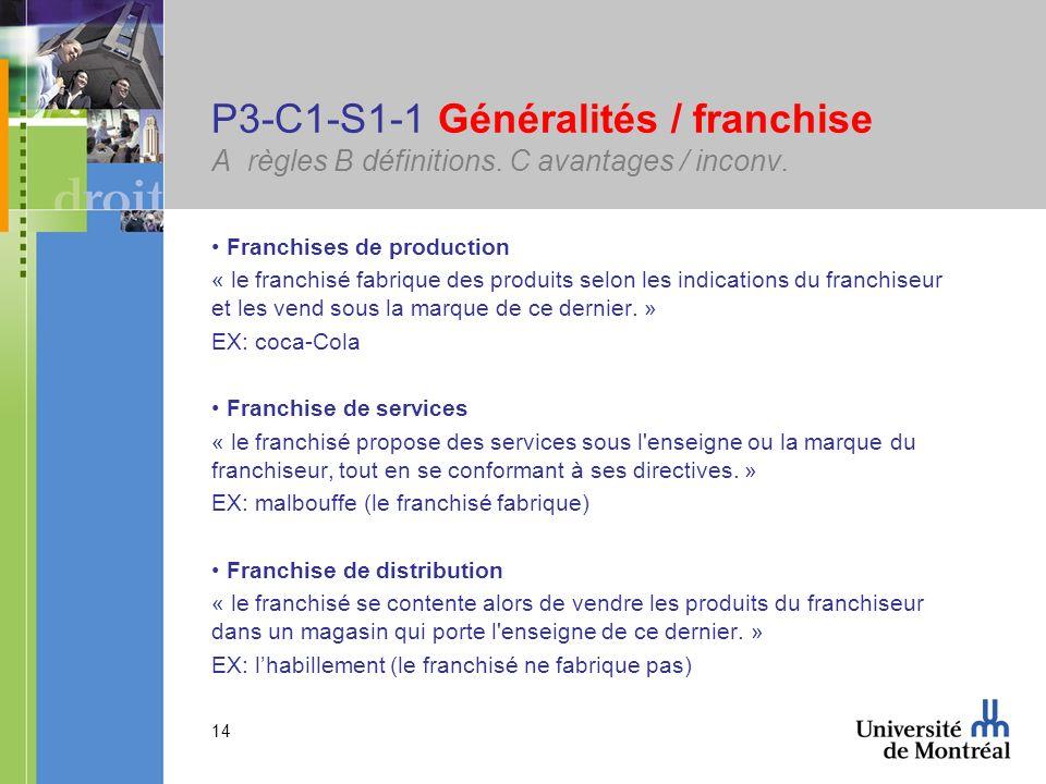 14 P3-C1-S1-1 Généralités / franchise A règles B définitions. C avantages / inconv. Franchises de production « le franchisé fabrique des produits selo