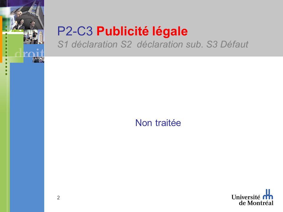 2 P2-C3 Publicité légale S1 déclaration S2 déclaration sub. S3 Défaut Non traitée