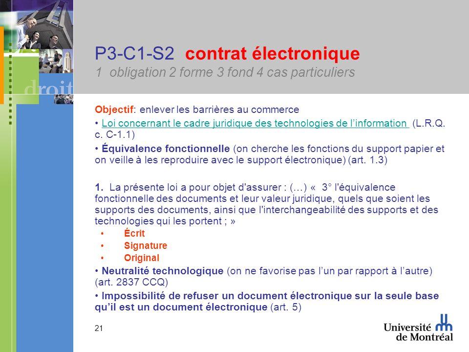 21 P3-C1-S2 contrat électronique 1 obligation 2 forme 3 fond 4 cas particuliers Objectif: enlever les barrières au commerce Loi concernant le cadre ju