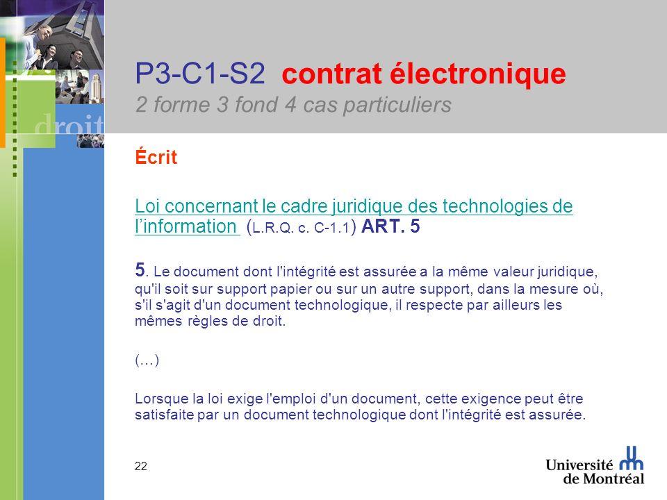 22 P3-C1-S2 contrat électronique 2 forme 3 fond 4 cas particuliers Écrit Loi concernant le cadre juridique des technologies de linformation Loi concer