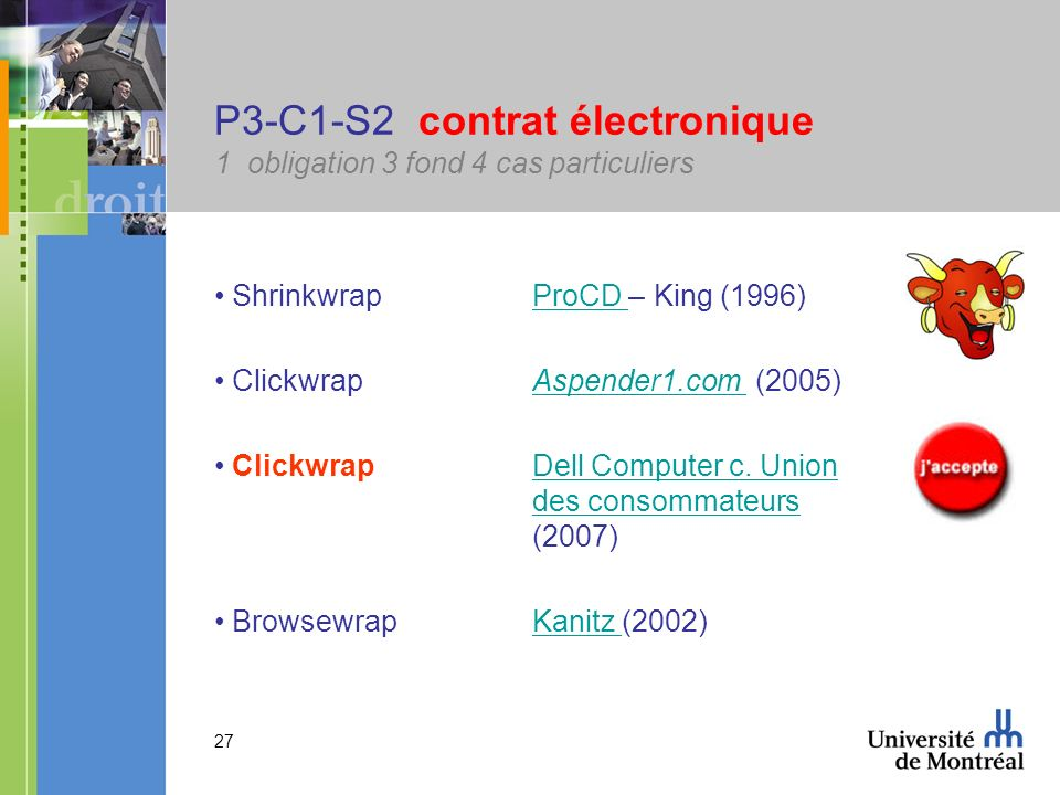 27 P3-C1-S2 contrat électronique 1 obligation 3 fond 4 cas particuliers Shrinkwrap ProCD – King (1996)ProCD Clickwrap Aspender1.com (2005)Aspender1.co