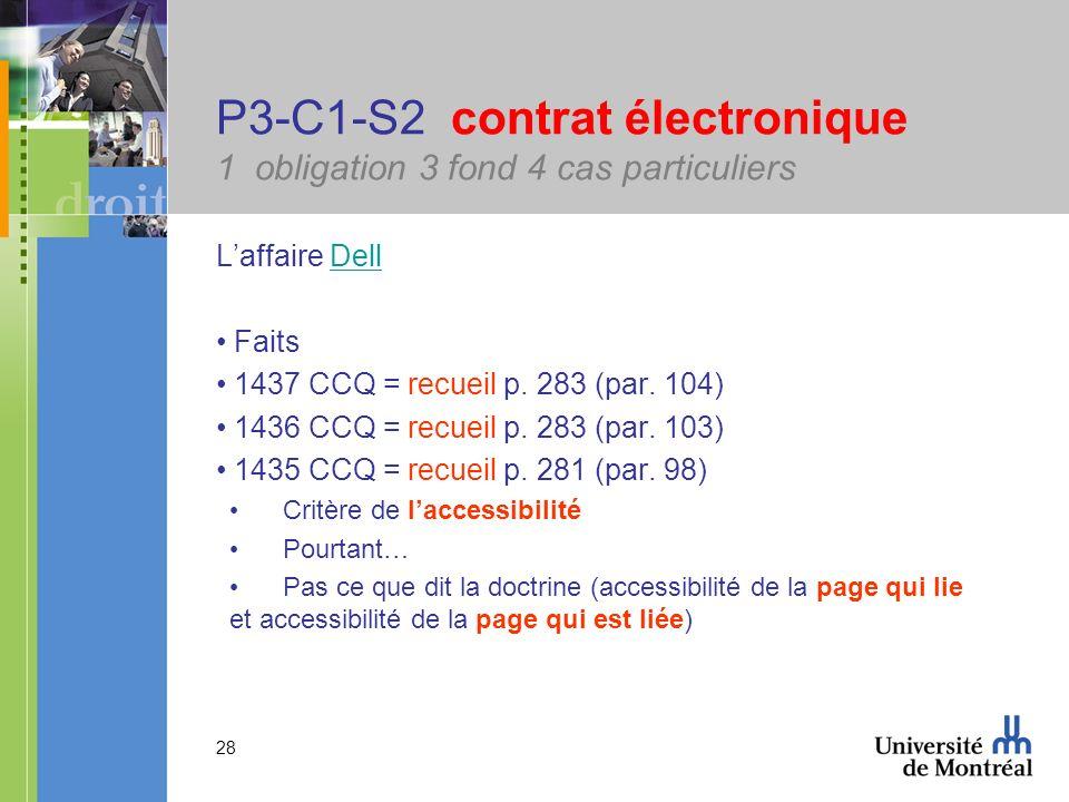 28 P3-C1-S2 contrat électronique 1 obligation 3 fond 4 cas particuliers Laffaire DellDell Faits 1437 CCQ = recueil p. 283 (par. 104) 1436 CCQ = recuei