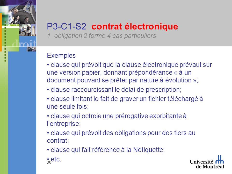 30 P3-C1-S2 contrat électronique 1 obligation 2 forme 4 cas particuliers Exemples clause qui prévoit que la clause électronique prévaut sur une versio