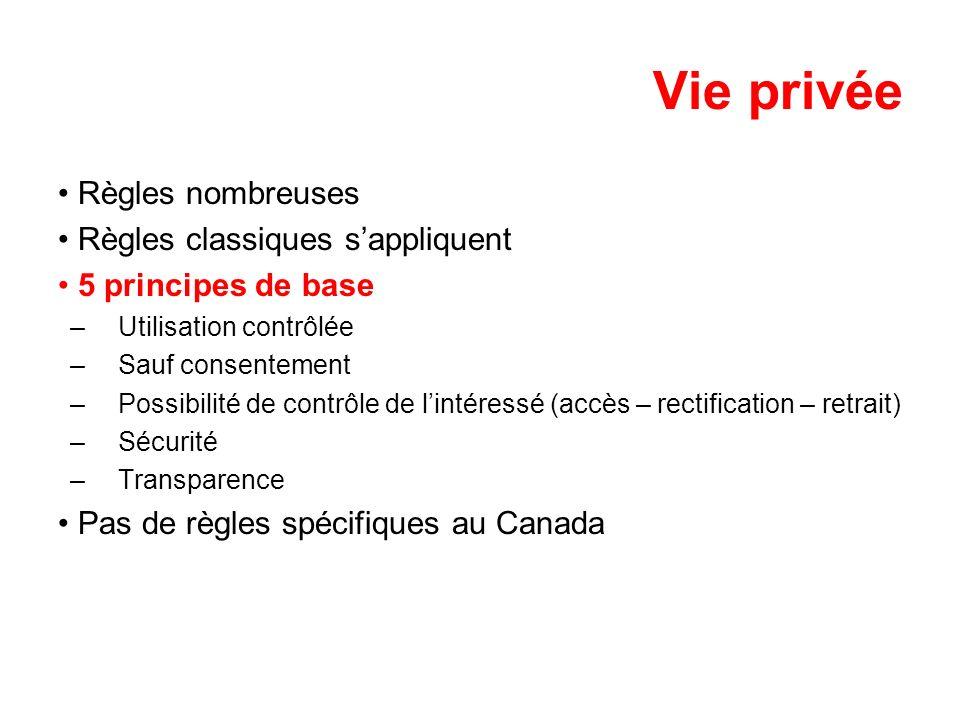 Vie privée Règles nombreuses Règles classiques sappliquent 5 principes de base –Utilisation contrôlée –Sauf consentement –Possibilité de contrôle de l