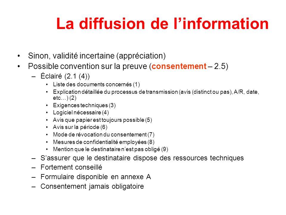 La diffusion de linformation Sinon, validité incertaine (appréciation) Possible convention sur la preuve (consentement – 2.5) –Éclairé (2.1 (4)) Liste