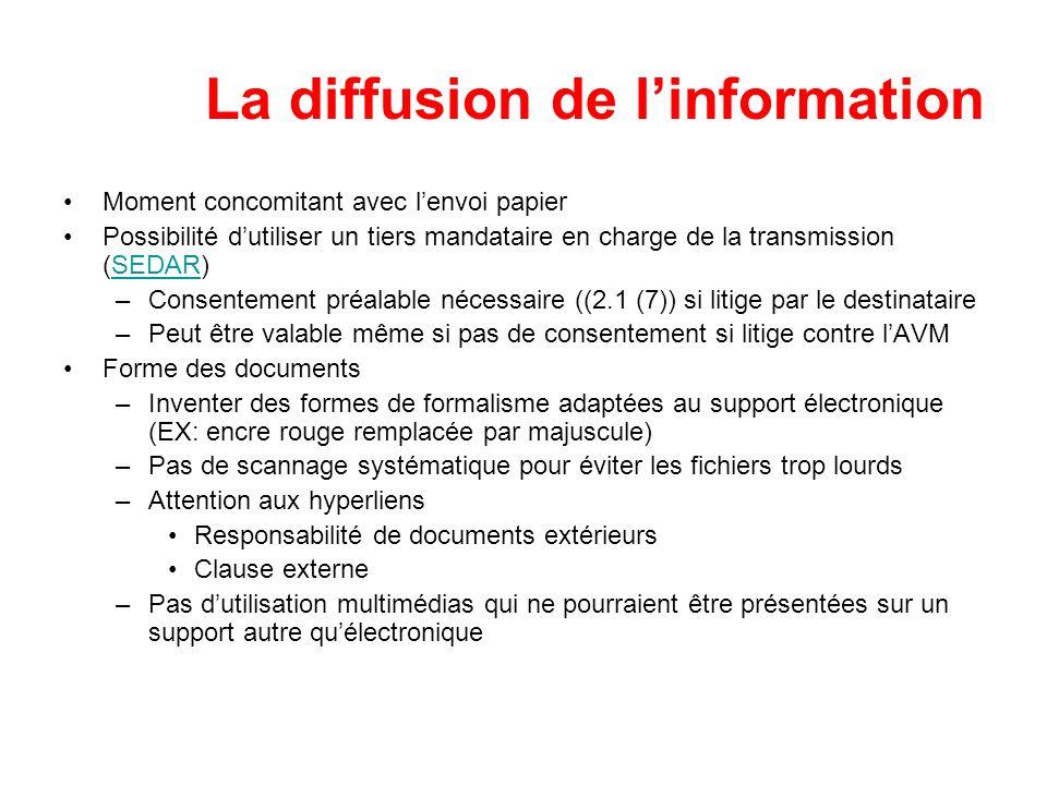 La diffusion de linformation Moment concomitant avec lenvoi papier Possibilité dutiliser un tiers mandataire en charge de la transmission (SEDAR)SEDAR
