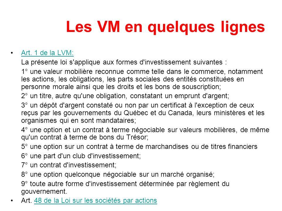 Les VM en quelques lignes Art. 1 de la LVM:Art. 1 de la LVM: La présente loi s'applique aux formes d'investissement suivantes : 1° une valeur mobilièr