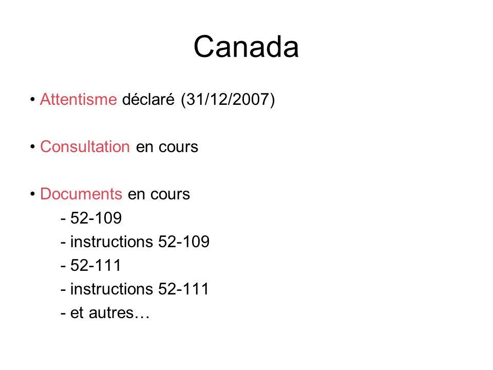 Canada Attentisme déclaré (31/12/2007) Consultation en cours Documents en cours - 52-109 - instructions 52-109 - 52-111 - instructions 52-111 - et aut