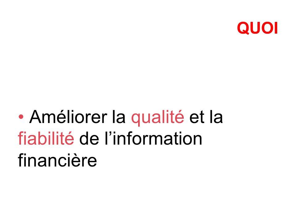QUOI Améliorer la qualité et la fiabilité de linformation financière