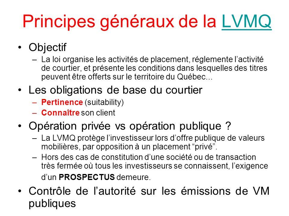 Principes généraux de la LVMQLVMQ Objectif –La loi organise les activités de placement, réglemente lactivité de courtier, et présente les conditions d
