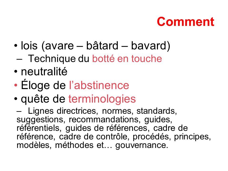 Comment lois (avare – bâtard – bavard) –Technique du botté en touche neutralité Éloge de labstinence quête de terminologies –Lignes directrices, norme