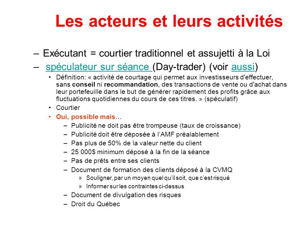 Les acteurs et leurs activités –Exécutant = courtier traditionnel et assujetti à la Loi – spéculateur sur séance (Day-trader) (voir aussi)spéculateur