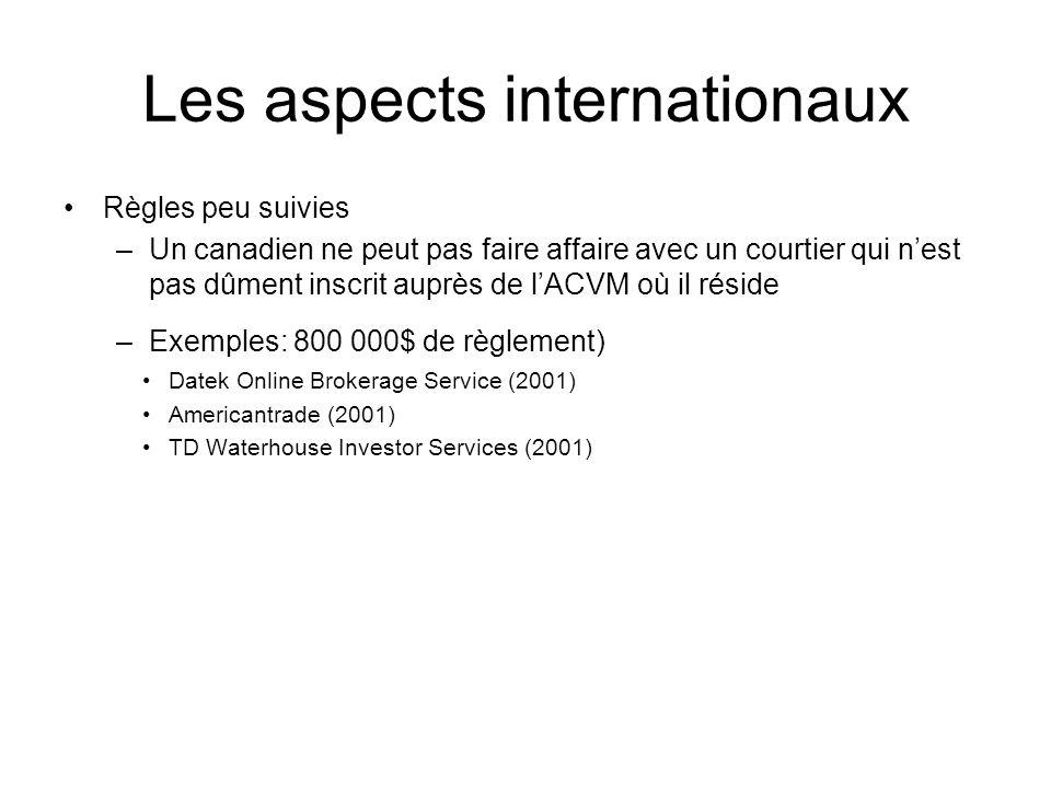 Les aspects internationaux Règles peu suivies –Un canadien ne peut pas faire affaire avec un courtier qui nest pas dûment inscrit auprès de lACVM où i