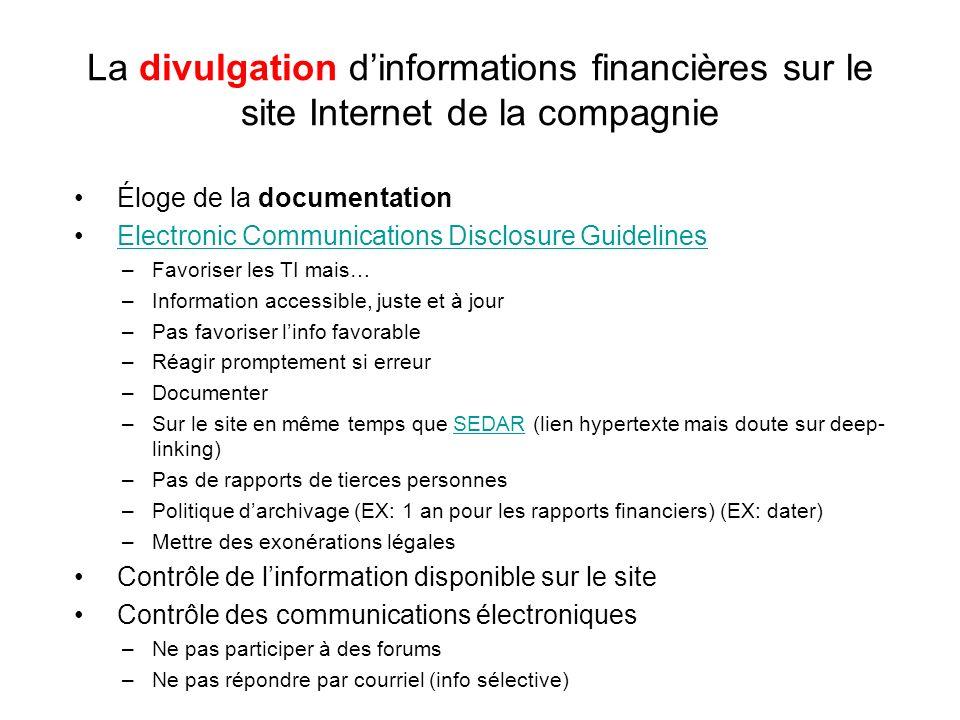 La divulgation dinformations financières sur le site Internet de la compagnie Éloge de la documentation Electronic Communications Disclosure Guideline