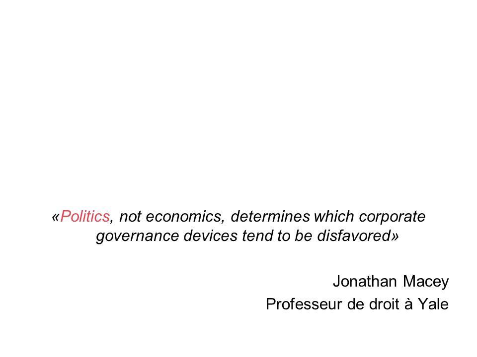 «Politics, not economics, determines which corporate governance devices tend to be disfavored» Jonathan Macey Professeur de droit à Yale