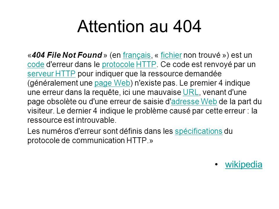 Attention au 404 «404 File Not Found » (en français, « fichier non trouvé ») est un code d erreur dans le protocole HTTP.