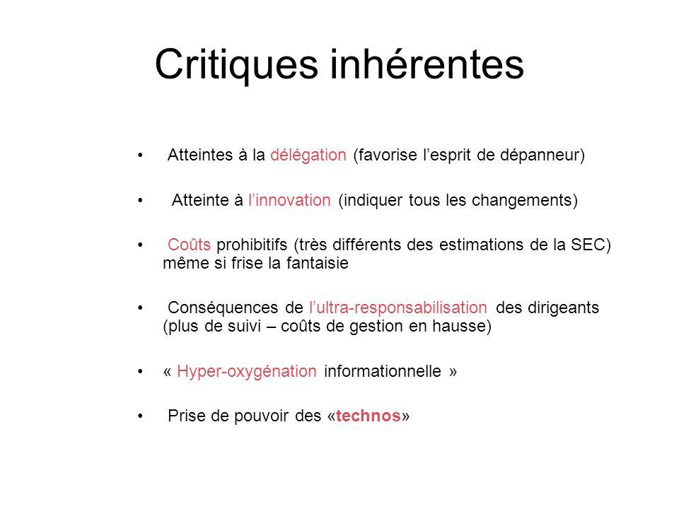 Critiques inhérentes Atteintes à la délégation (favorise lesprit de dépanneur) Atteinte à linnovation (indiquer tous les changements) Coûts prohibitif