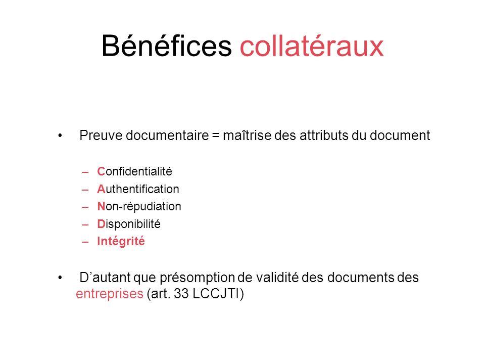 Bénéfices collatéraux Preuve documentaire = maîtrise des attributs du document –Confidentialité –Authentification –Non-répudiation –Disponibilité –Intégrité Dautant que présomption de validité des documents des entreprises (art.