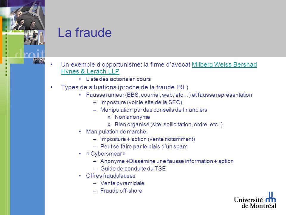 La fraude Un exemple dopportunisme: la firme davocat Milberg Weiss Bershad Hynes & Lerach LLPMilberg Weiss Bershad Hynes & Lerach LLP Liste des action