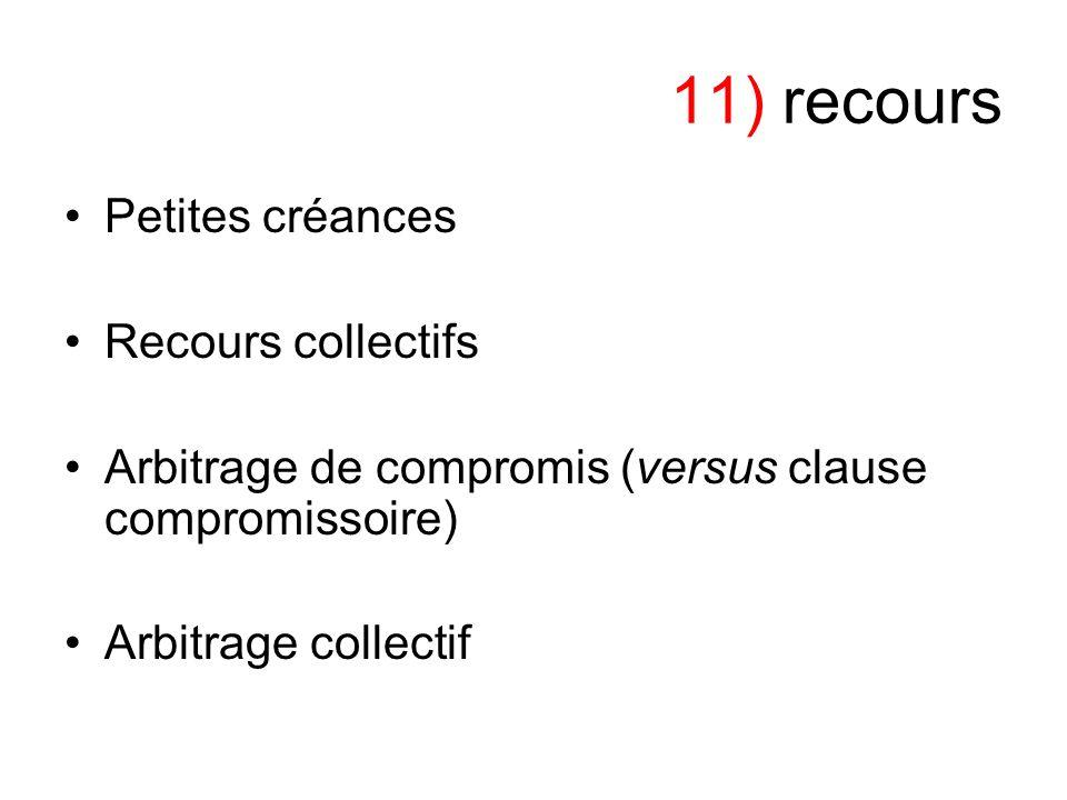 11) recours Petites créances Recours collectifs Arbitrage de compromis (versus clause compromissoire) Arbitrage collectif