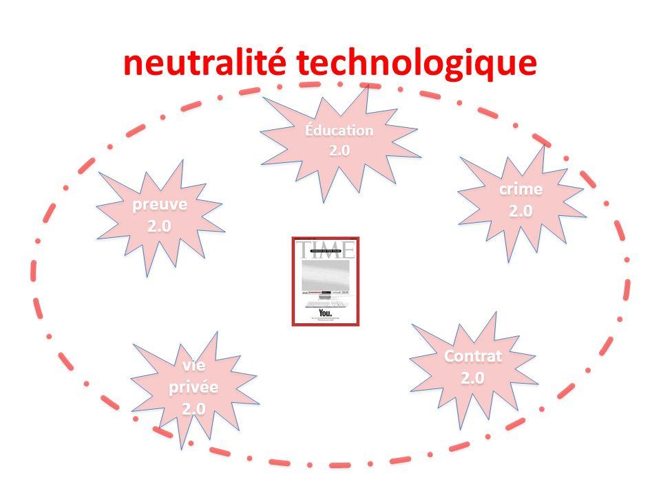 neutralité technologique vie privée 2.0 crime 2.0 preuve 2.0 Contrat 2.0 Éducation 2.0