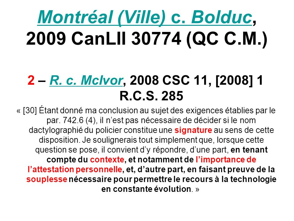 Montréal (Ville) c. BolducMontréal (Ville) c. Bolduc, 2009 CanLII 30774 (QC C.M.) 2 – R.