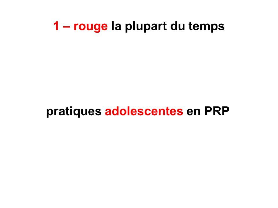 1 – rouge la plupart du temps pratiques adolescentes en PRP