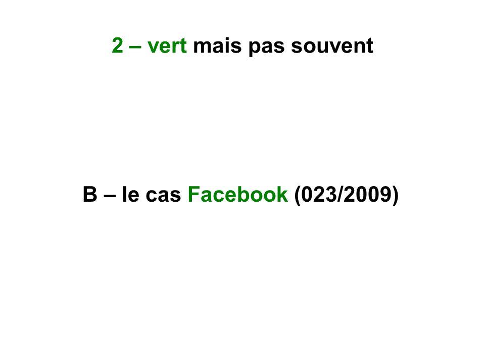 B – le cas Facebook (023/2009)