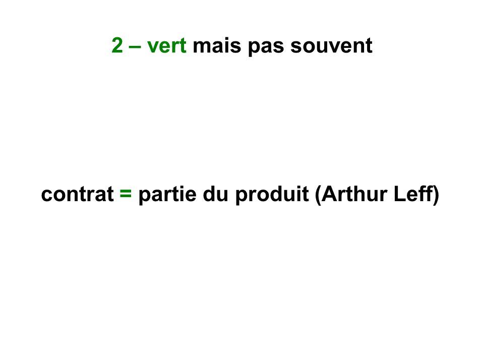 2 – vert mais pas souvent contrat = partie du produit (Arthur Leff)