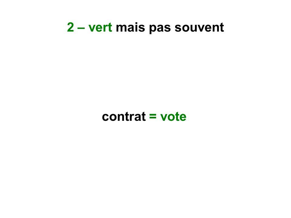 2 – vert mais pas souvent contrat = vote