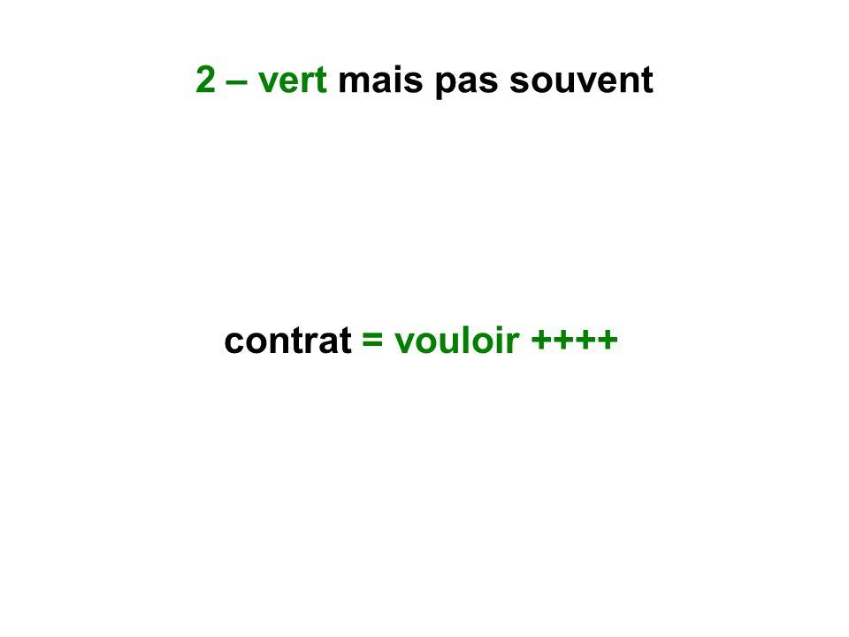 2 – vert mais pas souvent contrat = vouloir ++++