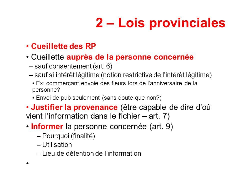 2 – Lois provinciales Cueillette des RP Cueillette auprès de la personne concernée – sauf consentement (art. 6) – sauf si intérêt légitime (notion res