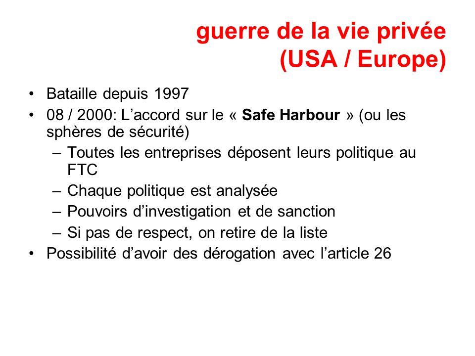 guerre de la vie privée (USA / Europe) Bataille depuis 1997 08 / 2000: Laccord sur le « Safe Harbour » (ou les sphères de sécurité) –Toutes les entrep