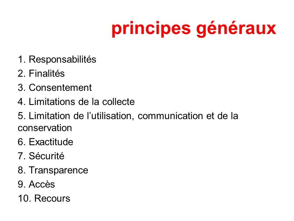 principes généraux 1. Responsabilités 2. Finalités 3. Consentement 4. Limitations de la collecte 5. Limitation de lutilisation, communication et de la