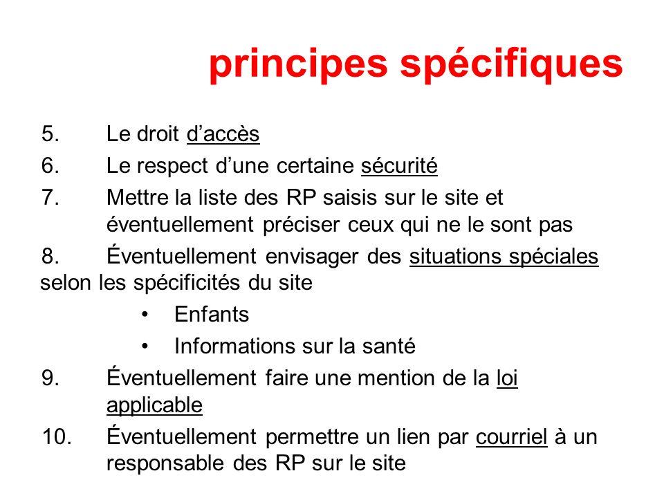 principes spécifiques 5.Le droit daccès 6.Le respect dune certaine sécurité 7.Mettre la liste des RP saisis sur le site et éventuellement préciser ceu