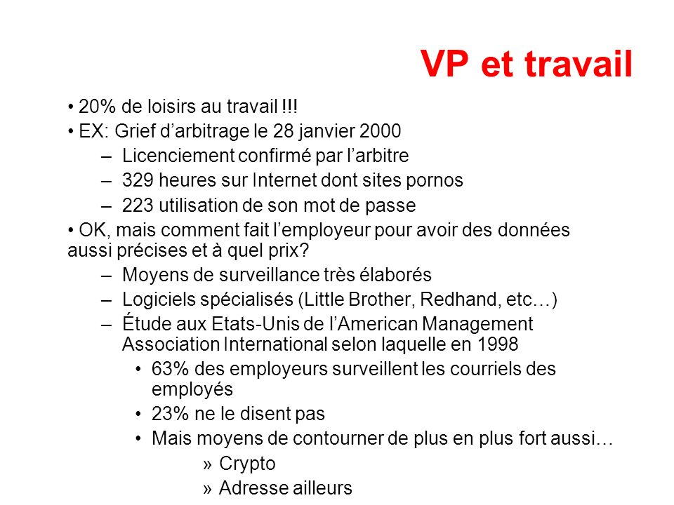 VP et travail 20% de loisirs au travail !!! EX: Grief darbitrage le 28 janvier 2000 –Licenciement confirmé par larbitre –329 heures sur Internet dont