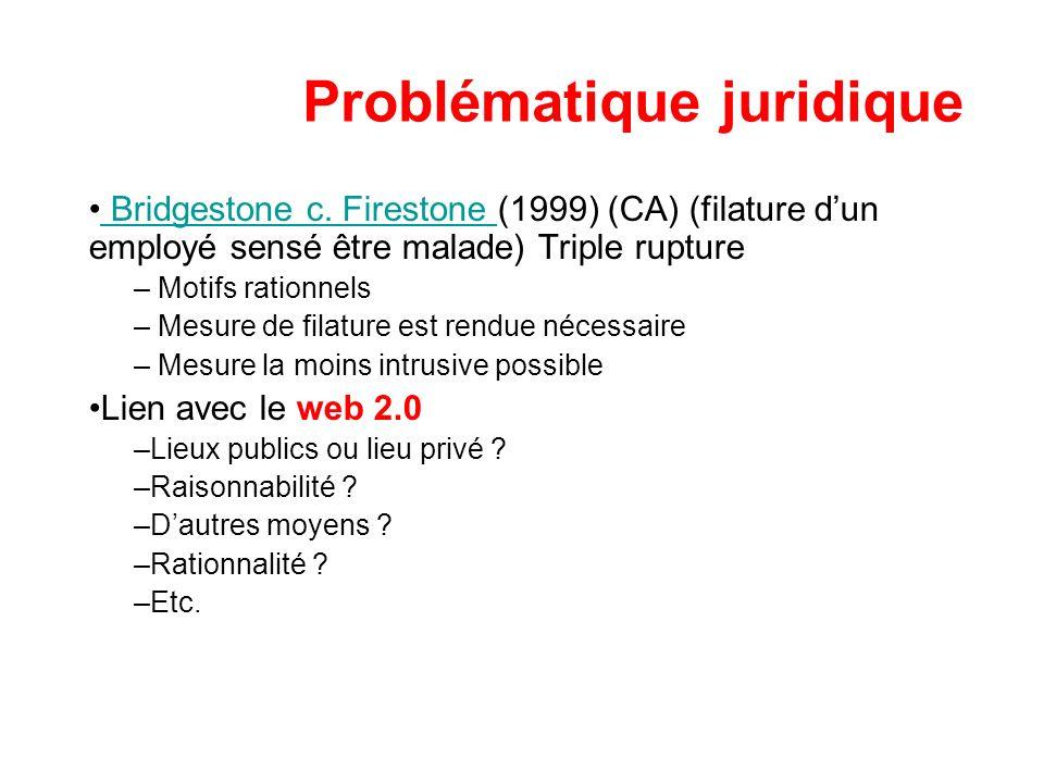 Problématique juridique Bridgestone c. Firestone (1999) (CA) (filature dun employé sensé être malade) Triple rupture Bridgestone c. Firestone – Motifs