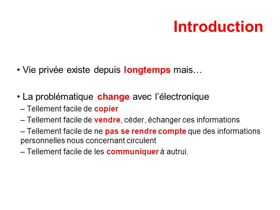 Introduction Vie privée existe depuis longtemps mais… La problématique change avec lélectronique – Tellement facile de copier – Tellement facile de ve