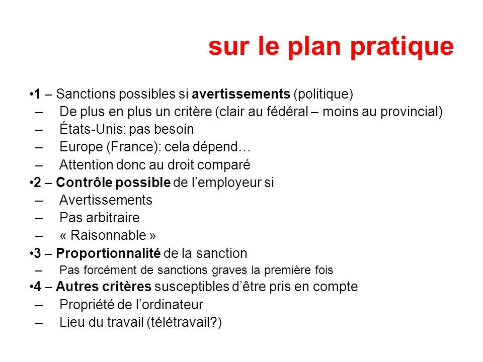 sur le plan pratique 1 – Sanctions possibles si avertissements (politique) –De plus en plus un critère (clair au fédéral – moins au provincial) –États