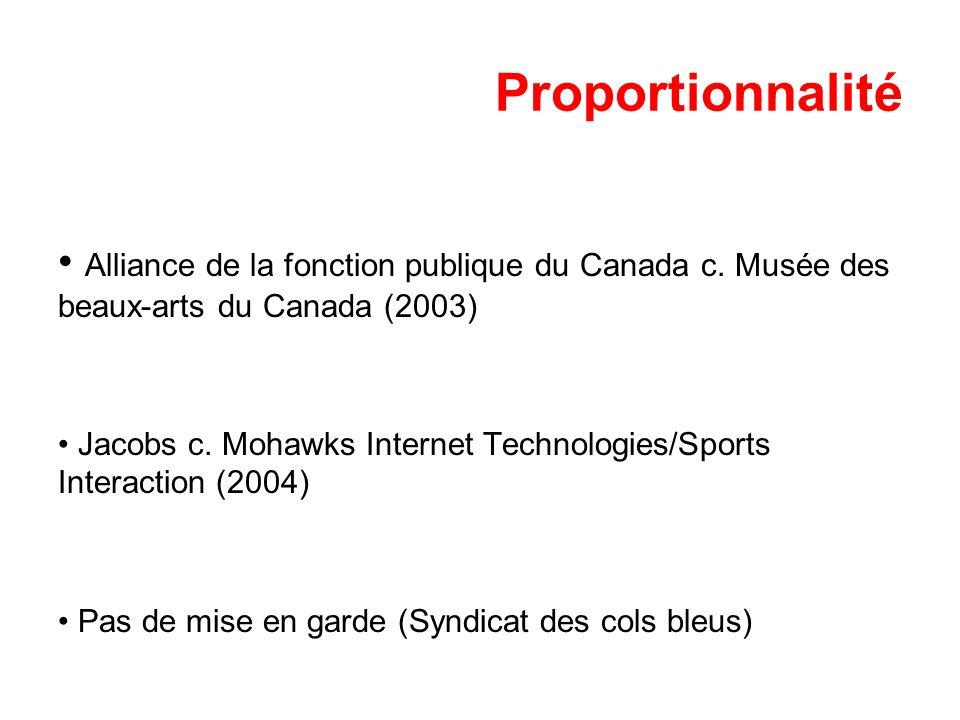 Proportionnalité Alliance de la fonction publique du Canada c. Musée des beaux-arts du Canada (2003) Jacobs c. Mohawks Internet Technologies/Sports In