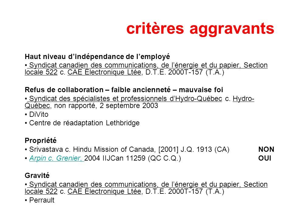 critères aggravants Haut niveau dindépendance de lemployé Syndicat canadien des communications, de lénergie et du papier, Section locale 522 c. CAE Él