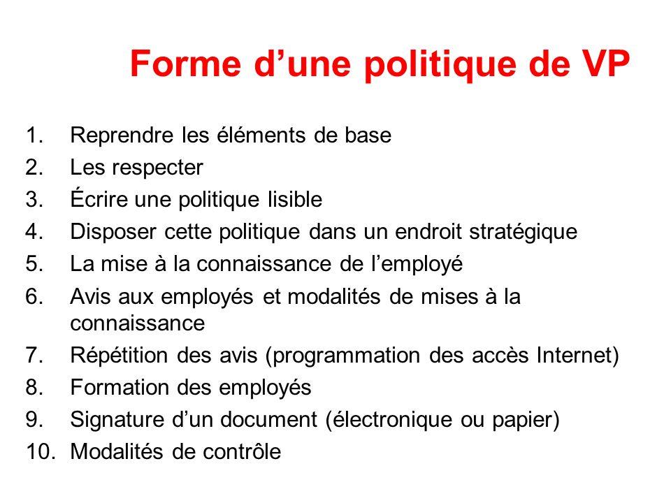 Forme dune politique de VP 1.Reprendre les éléments de base 2.Les respecter 3.Écrire une politique lisible 4.Disposer cette politique dans un endroit